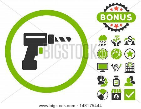 Drill icon with bonus pictures. Vector illustration style is flat iconic bicolor symbols, eco green and gray colors, white background.
