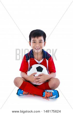 Young Asian Soccer Player With Soccer Smiling And Holding Soccer Ball. Studio Shot.