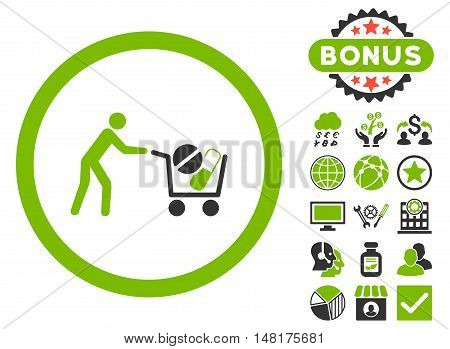 Drugs Shopping Cart icon with bonus elements. Vector illustration style is flat iconic bicolor symbols, eco green and gray colors, white background.