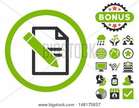 Edit Records icon with bonus elements. Vector illustration style is flat iconic bicolor symbols, eco green and gray colors, white background.