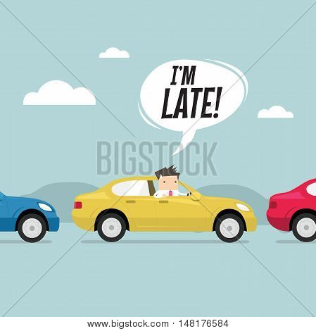 Businessman on the road with traffic jam, Late for work. vector