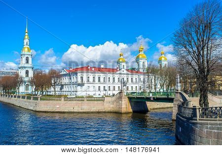 The tourist area famous as the Semimostye is the point overlooking all seven bridges over Krukov and Griboedov Canals next to the St Nicholas Naval Cathedral in St Petersburg Russia.