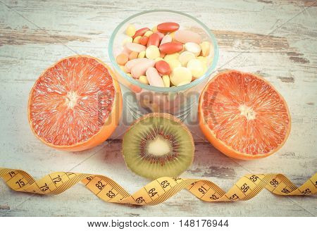 Vintage Photo, Natural Fruits, Centimeter And Pills, Slimming, Choice Between Healthy Nutrition And
