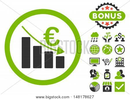 Euro Recession icon with bonus pictogram. Vector illustration style is flat iconic bicolor symbols, eco green and gray colors, white background.