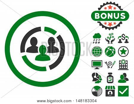 Demography Diagram icon with bonus pictures. Vector illustration style is flat iconic bicolor symbols, green and gray colors, white background.