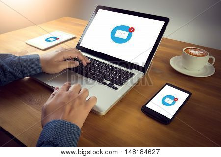 Email Icon On Digital Tablet, Coffee Desktop