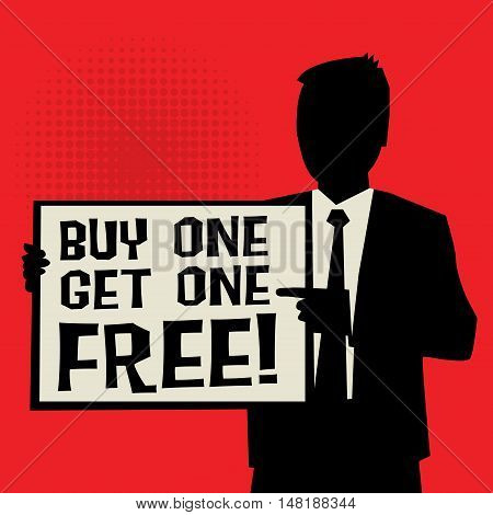 Man showing board business concept with text Buy One Get One Free vector illustration