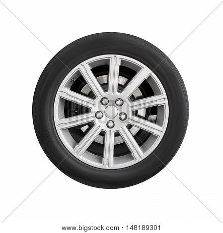 New Automotive Wheel On Light Alloy Disc Isolated