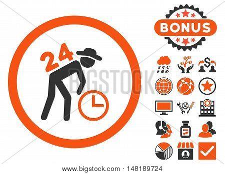 Around the Clock Work icon with bonus symbols. Vector illustration style is flat iconic bicolor symbols, orange and gray colors, white background.