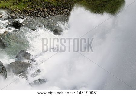 This is whitewater stream of one of the many waterfalls in the mountains of Norway.