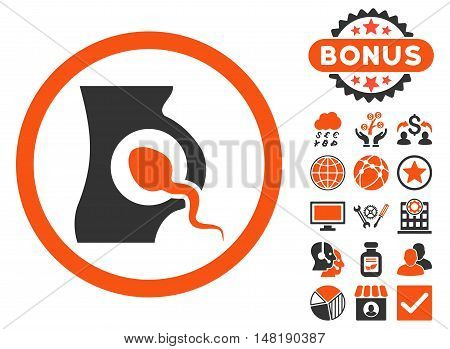 Artificial Insemination icon with bonus images. Vector illustration style is flat iconic bicolor symbols, orange and gray colors, white background.