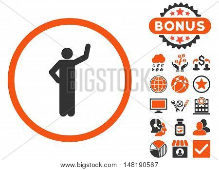Assurance icon with bonus images. Vector illustration style is flat iconic bicolor symbols, orange and gray colors, white background.