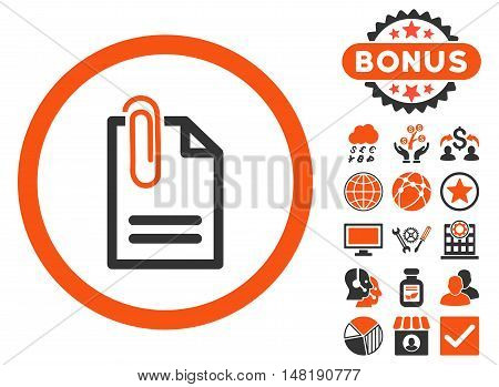 Attach Document icon with bonus pictures. Vector illustration style is flat iconic bicolor symbols, orange and gray colors, white background.