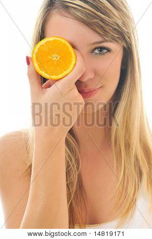 young woman orange isolated fruit food healthy