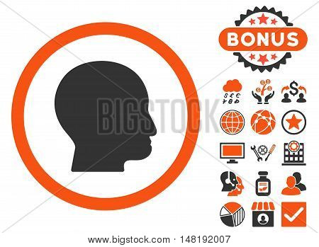 Bald Head icon with bonus pictures. Vector illustration style is flat iconic bicolor symbols, orange and gray colors, white background.
