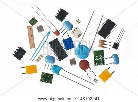 electronics components, white background