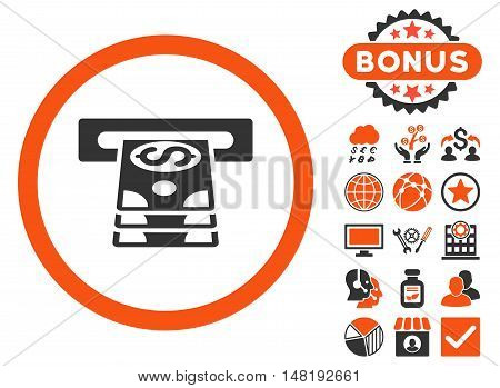 Bank Cashpoint icon with bonus pictures. Vector illustration style is flat iconic bicolor symbols, orange and gray colors, white background.