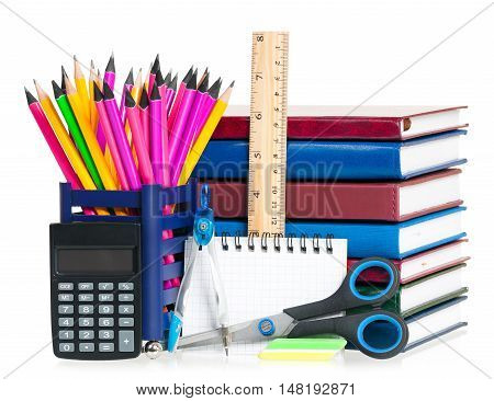 School notebooks with writing-materials isolated on a white background
