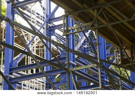 big metal structure, industrial construction site