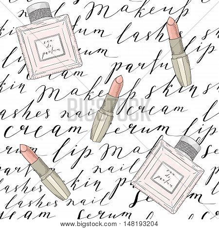 Pattern with handwritten words about beauty, cosmetics and makeup. Perfume and lipstick. Black text on a white background.