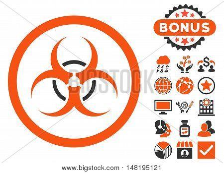 Bio Hazard icon with bonus symbols. Vector illustration style is flat iconic bicolor symbols, orange and gray colors, white background.