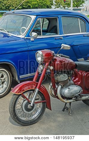 Dnepropetrovsk Ukraine - September 14 2013: Exhibition of retro cars and other vintage motorcycle technics
