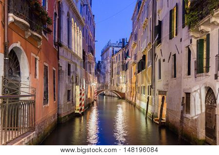 View of a canal in Venice by night