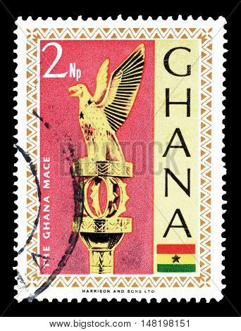 GHANA - CIRCA 1967 : Cancelled postage stamp printed by Ghana, that shows Ghana mace.