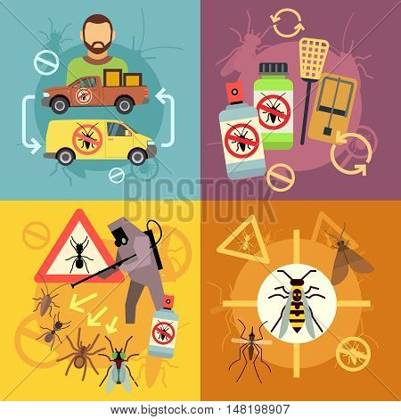 Home pest control service flat concepts set. Protection from insects, job exterminator cockroach illustration