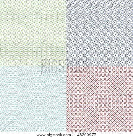 Guilloche patterns vector set for voucher, banknote, certificate and money texture. Watermark endless abstraction background colored illustration