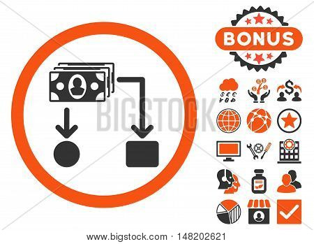 Cashflow icon with bonus design elements. Vector illustration style is flat iconic bicolor symbols, orange and gray colors, white background.