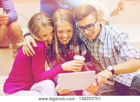 education, friendship, technology, drinks and people concept - group of smiling students with tablet pc computer and paper coffee cup taking selfie or video