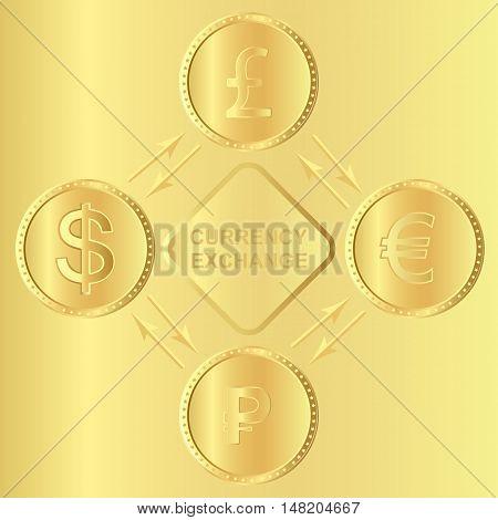 Main currencies symbols represented as shiny gold coins.