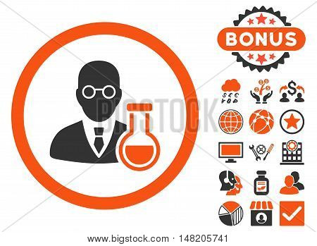 Chemist icon with bonus design elements. Vector illustration style is flat iconic bicolor symbols, orange and gray colors, white background.