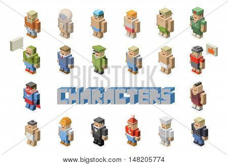 People occupations vector icons - set of Isometric man characters