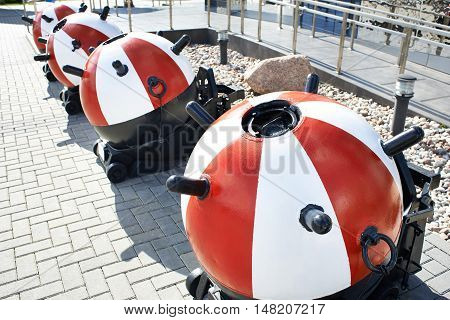 The training sea mines at the exhibition