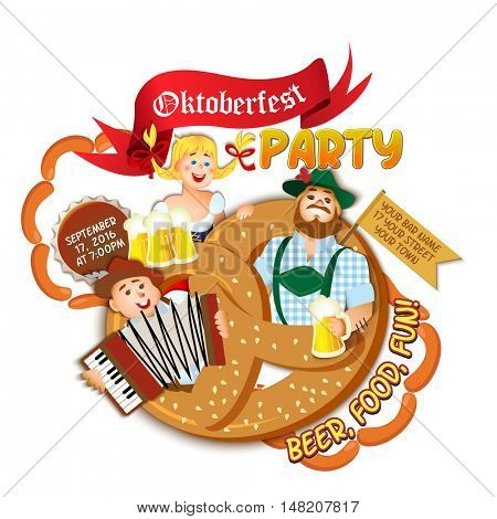 Oktoberfest party flyer on white background. Girl and two men with beer in big pretzel. Vector flat cartoon illustration