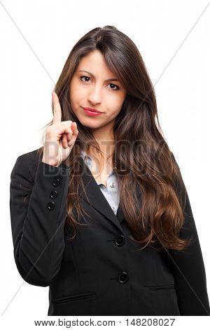 Young angry woman menacing you