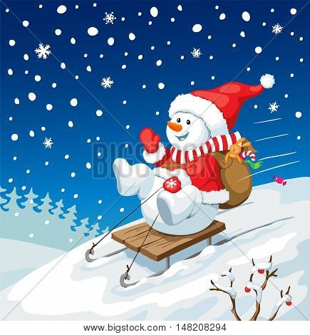 Vector Christmas illustration. Snowman on sled with christmas gifts. New year card concept.