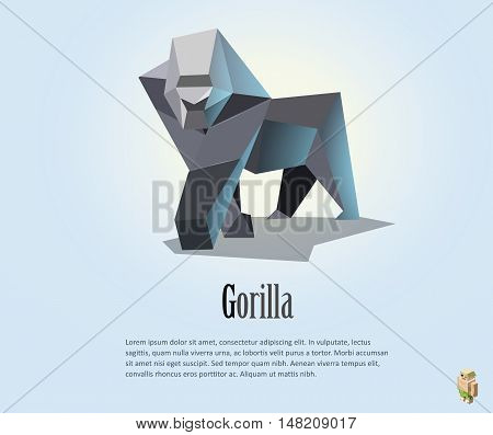 Vector polygonal illustration of gorilla, low poly style object, wild animal icon