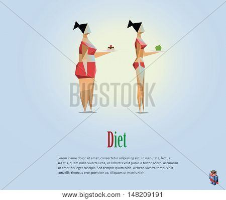 Vector polygonal illustration of diet, healthy lifestyle, daily routine. Choice of girls: being fat or slim, bad habits, low poly style