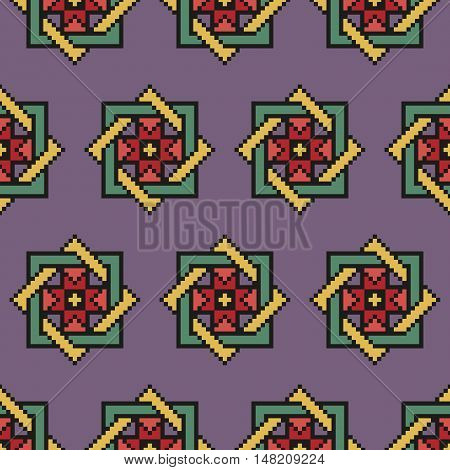 Desaturated floral seamless stitching pattern on a violet background. Pixel art. Vector illustration