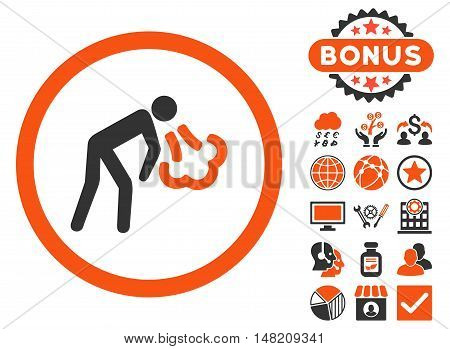 Cough icon with bonus images. Vector illustration style is flat iconic bicolor symbols, orange and gray colors, white background.