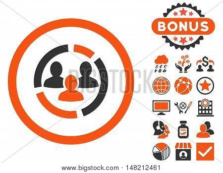 Demography Diagram icon with bonus design elements. Vector illustration style is flat iconic bicolor symbols, orange and gray colors, white background.