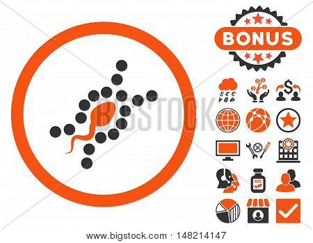 DNA Replication icon with bonus pictures. Vector illustration style is flat iconic bicolor symbols, orange and gray colors, white background.
