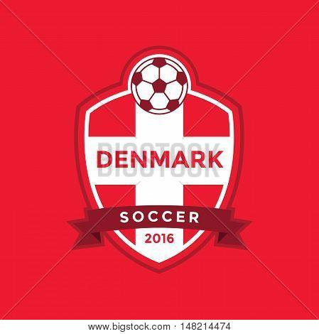 Denmark soccer team with flag. vector illustration