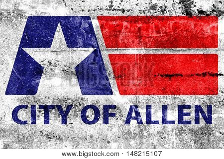 Flag Of Allen, Texas, Usa, Painted On Dirty Wall