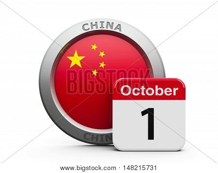 Emblem of China with calendar button - The First of October - represents the National Day in China three-dimensional rendering 3D illustration