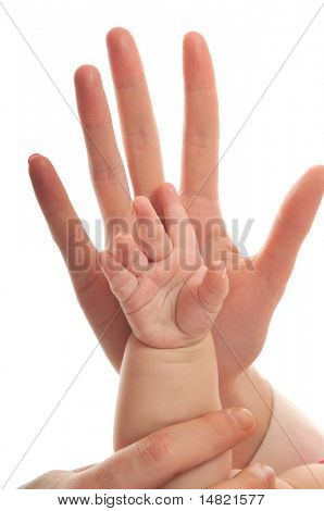 woman and baby hand together isolated on white representing love and family concept