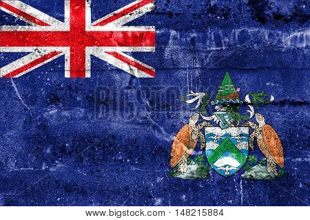 Flag Of Ascension Island, Canada, Painted On Dirty Wall
